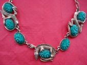 1950's/1960's Amazing Signed 'Exquisite' Necklace with Gilt Lizards and Faux Jade Gems (Sorry sold)